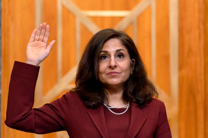 Neera Tanden, nominee for director of the Office of Management and Budget, is sworn in before she testifies Feb. 10 before a