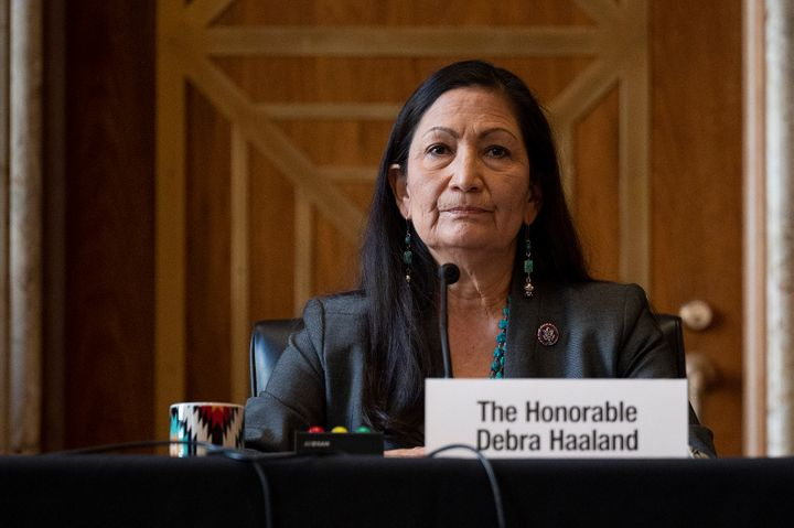 Rep. Deb Haaland (D-N.M.) speaks Tuesday during the Senate Committee on Energy and Natural Resources hearing on her nominatio