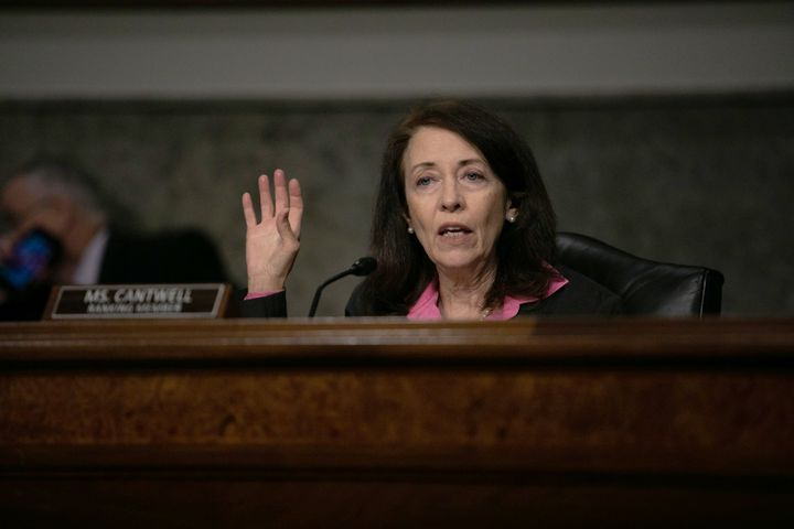 Sen. Maria Cantwell (D-Wash.) speaks at a hearing in June. She defended Haaland this week after Republicans tried to paint th