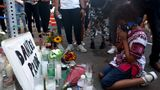 "ROCHESTER, NEW YORK - SEPTEMBER 03: Hasan Massey Jr., 11, kneels in prayer at a make shift memorial at the site where Daniel Prude was arrested on September 03, 2020 in Rochester, New York. Prude died after being arrested on March 23 by Rochester police officers who had placed a ""spit hood"" over his head and pinned him to the ground while restraining him. Mayor Lovely Warren announced today the suspension of seven officers involved in the arrest. (Photo by Michael M. Santiago/Getty Images)"