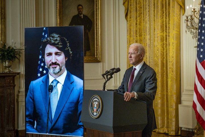 President Joe Biden and Prime Minister Justin Trudeau (virtually) make statements in the East Room of the White House about their virtual bilateral meeting in Washington, D.C., on Feb. 23, 2021.