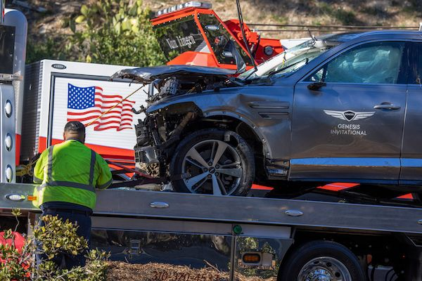 This is the car that golf legend Tiger Woods was driving when seriously injured in a rollover accident on Tuesday.