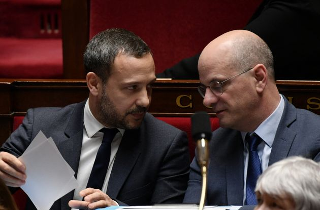 Adrien Taquet (à gauche) et Jean-Michel Blanquer, ici photographiés en février 2019, sont les deux ministres...