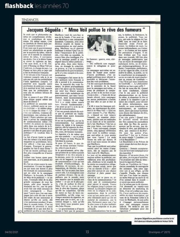 La tribune de Jacques Ségéla de 1979réagissant à la loi Veil qui limitait...