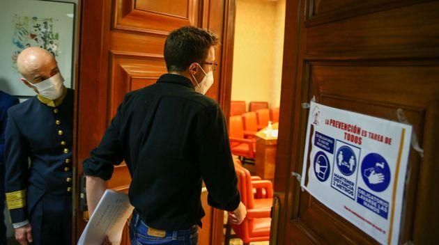 Íñigo Errejón entrando a la Sala Constitucional del Congreso, en una imagen de