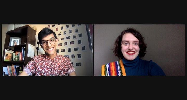 Ahdithya Visweswaran et Janie Moyen, photo prise lors de l'enregistrement d'un &eacute;pisode des <i>Francos oubli&eacute;.e.s</i>