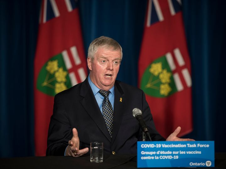 Retired Gen. Rick Hillier, chair of Ontario's COVID-19 Vaccine Distribution Task Force, responds to a question during a press conference in Toronto on Dec. 11, 2020.