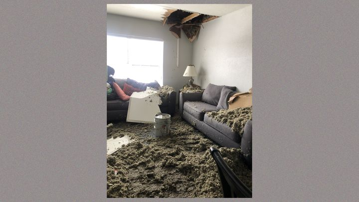 Damage inside the Family Place, the largest domestic violence shelter in Dallas.