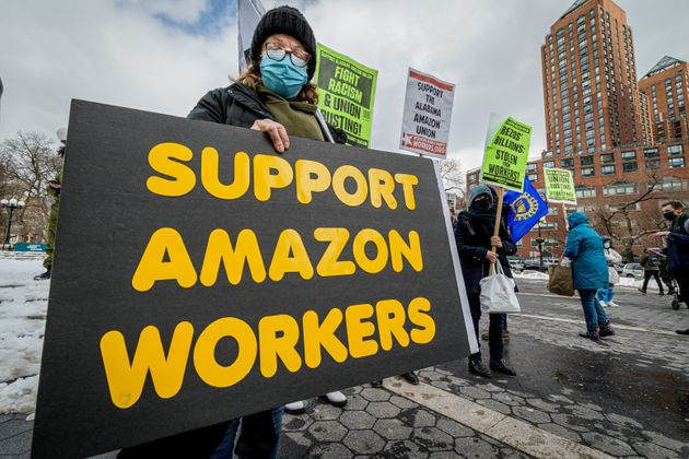 Members of the Workers Assembly Against Racism gathered across from an Amazon-owned Whole Foods Market...