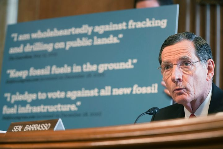 Sen. John Barrasso (R-Wyo.) speaks during Interior Secretary nominee Deb Haaland's confirmation hearing before the the Senate Committee on Energy and Natural Resources.