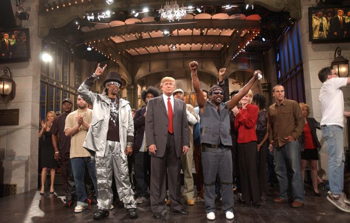 """Donald Trump's first time hosting """"Saturday Night Live"""" in 2004. Maya Rudolph, a cast member at the time, said she and her co"""