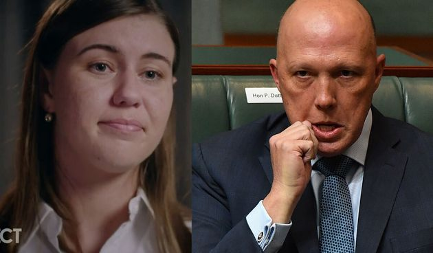 """Home Affairs Minister Peter Dutton has called Brittany Higgins' rape allegations a """"she said, he said"""" situation."""