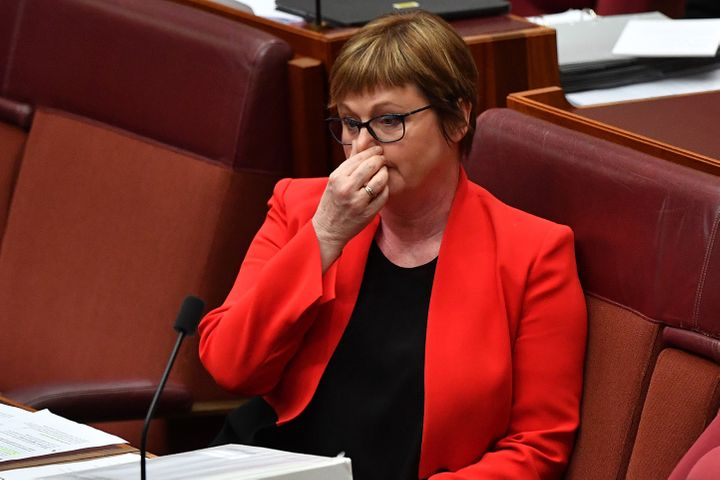 Senator Linda Reynolds during Question Time in the Senate on February 22, 2021 in Canberra, Australia.