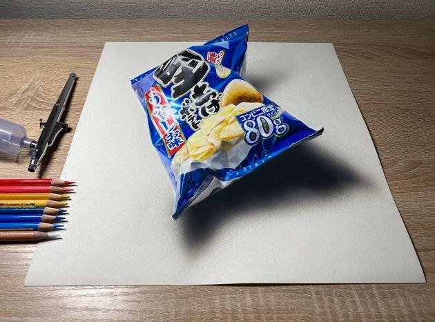 篠さんが描いた「堅あげポテト うすしお味」のイラスト