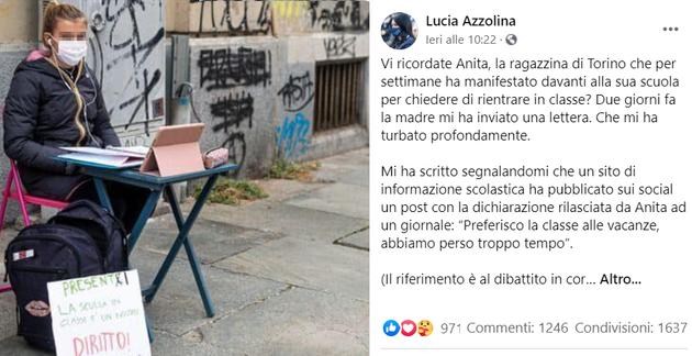 """""""Fatti curare"""": insulti social da utenti e prof contro Anita, 12enne delle proteste anti Dad"""