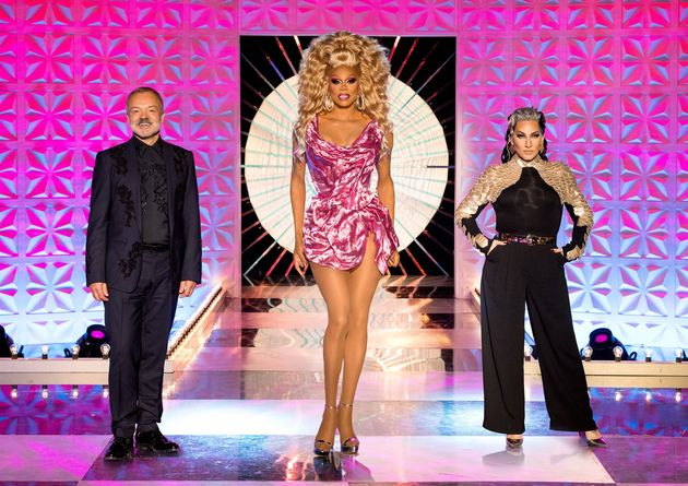 RuPaul with Drag Race UK judges Graham Norton and Michelle