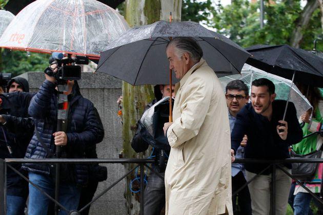 Luis Bárcenas, el 28 de mayo de 2018 a su llegada a declarar por el caso