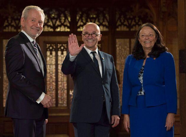 Sen. Pierrette Ringuette with Sen. Rene Cormier, centre, and Sen. Peter Harder before being sworn in on Nov. 15, 2016 in Ottawa.