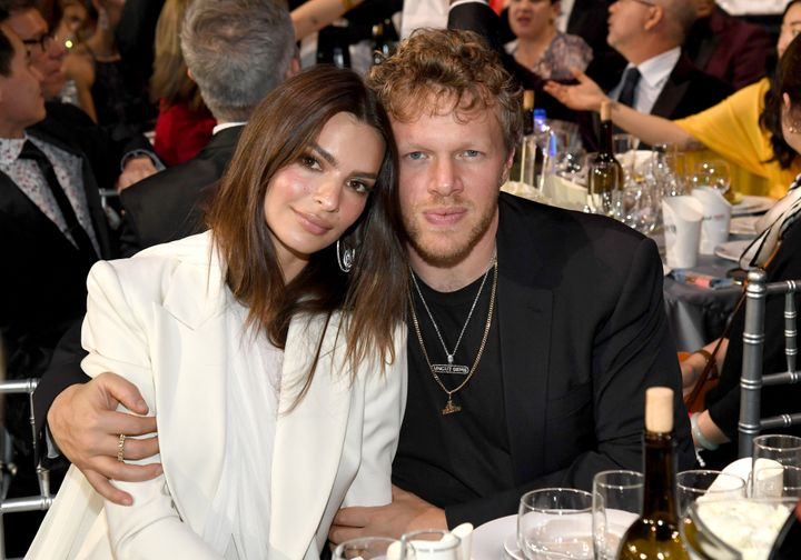 Emily Ratajkowski and Sebastian Bear-McClard attend the 25th Annual Critics' Choice Awards at Barker Hangar on January 12, 20