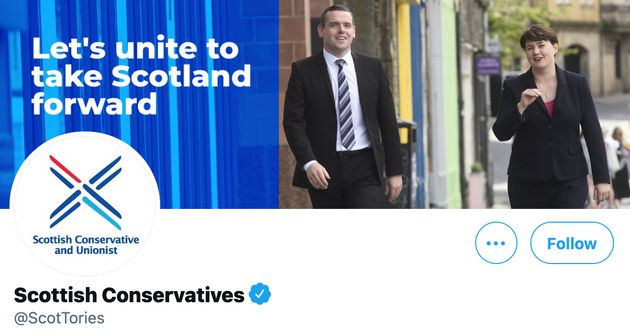 The Scottish Conservatives' Twitter homepage with the @ScotTories