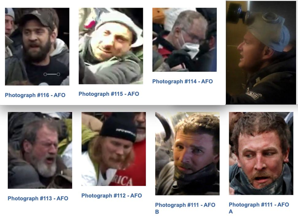 Photos of the suspects the FBI wants in connection with the Jan. 6 attack on Officer Mike Fanone.