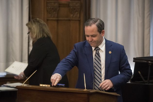 Doug Downey is sworn into his role as Ontario's Attorney General at Queen's Park in Toronto on June 20, 2019.