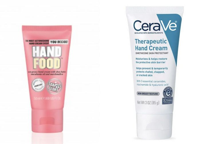 "<a href=""https://www.soapandglory.com/us/products/hand-food-trade-mini"">Soap &amp; Glory&rsquo;s Hand Food Cream</a> and<a href=""https://www.cerave.com/skincare/moisturizers/therapeutic-hand-cream""> CeraVe&rsquo;s Therapeutic Hand Cream</a>"