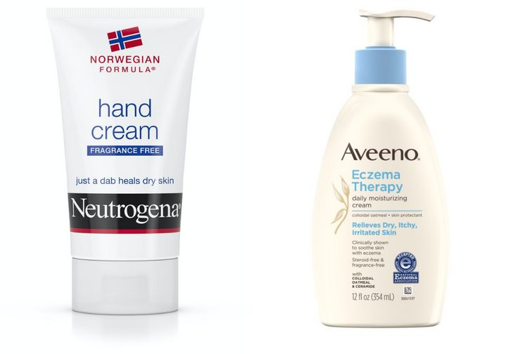 "<a href=""https://www.neutrogena.com/products/norwegian-formula-hand-cream/6801300.html"" target=""_blank"" rel=""noopener noreferrer"">Neutrogena Norwegian hand cream</a>&nbsp;and <a href=""https://www.aveeno.com/products/eczema-therapy-moisturizing-cream"" target=""_blank"" rel=""noopener noreferrer"">Aveeno Eczema Therapy hand cream&nbsp;</a>"