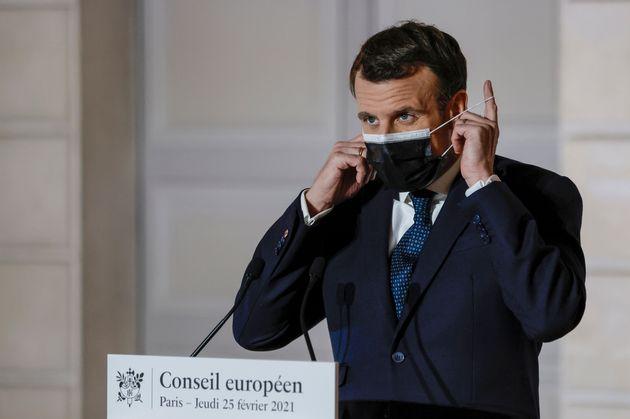 Emmanuel Macron, ici à l'Élysée à Paris, le 25 février