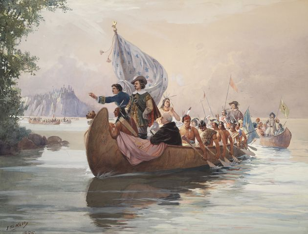 Samuel de Champlain lors d'une expédition avec des Amérindiens sur le lac Huron, en