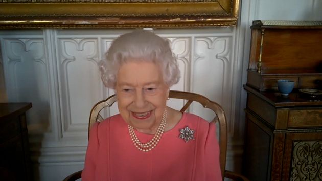 The Queen speaking via video call with the four health officials leading the deployment of the Covid-19...