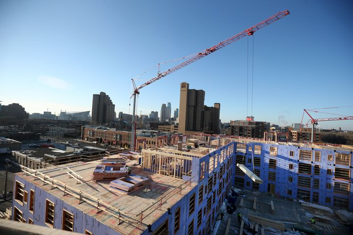 A 280-unit apartment building under construction in Minneapolis in 2017.Nearly three-quarters of Minneapolis' emissions came from buildings.