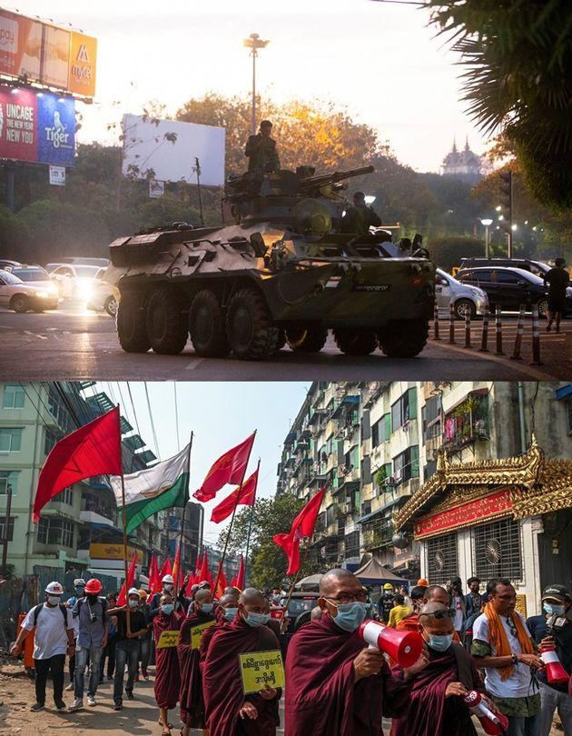 2021년 2월 14일 미얀마 양곤에서 군사 쿠데타에 반대하는 시위 도중 목격된 장갑차, 스님들의 시위