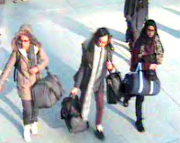 15-year-old Amira Abase, Kadiza Sultana, 16, and Shamima Begum, 15, at Gatwick airport in February