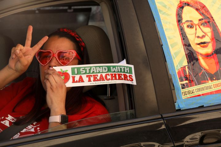 Lorraine Quinones, a fourth-grade teacher at Multnomah Elementary School, in a car-caravan protest this month to not force Lo