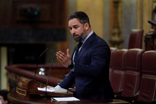 El líder de Vox, Santiago Abascal, este miércoles en el Congreso de los