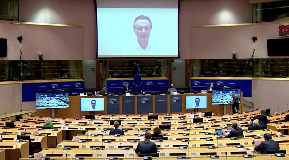 AstraZeneca CEO Pascal Soriot addressing members of the European parliament on Thursday, February 25,
