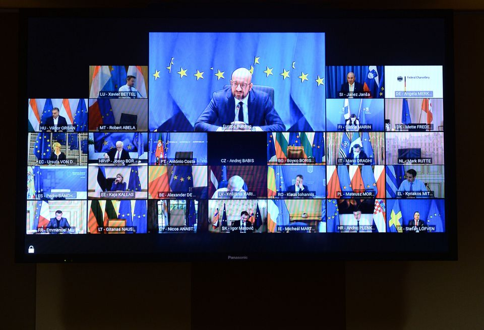 European Council President Charles Michel chairs a video conference of EU leaders on