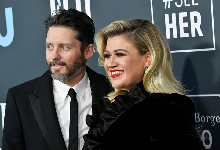 Brandon Blackstock and Kelly Clarkson attend the 25th Annual Critics' Choice Awards at Barker Hangar on Jan. 12, 2020 in Sant