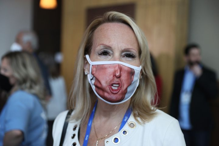 This attendee at the Conservative Political Action Conference in Orlando, Florida, heeded the mask-wearing request by the gat