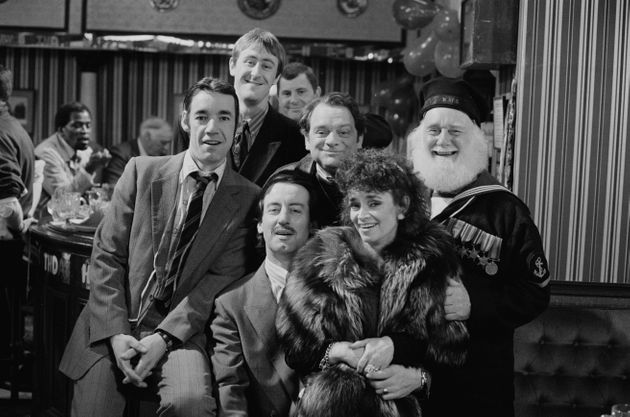 The cast during filming for the 1988 Christmas special of Only Fools and