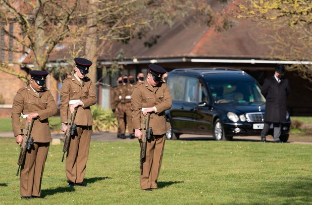The funeral cortege of Captain Sir Tom Moore arrives at Bedford