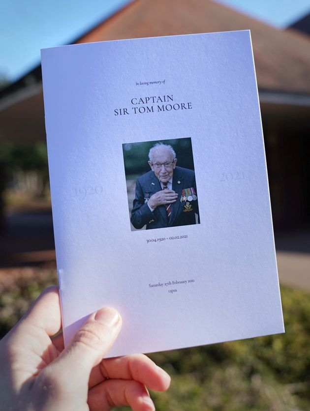 The Order of Service for the funeral of Captain Sir Tom Moore is seen at Bedford
