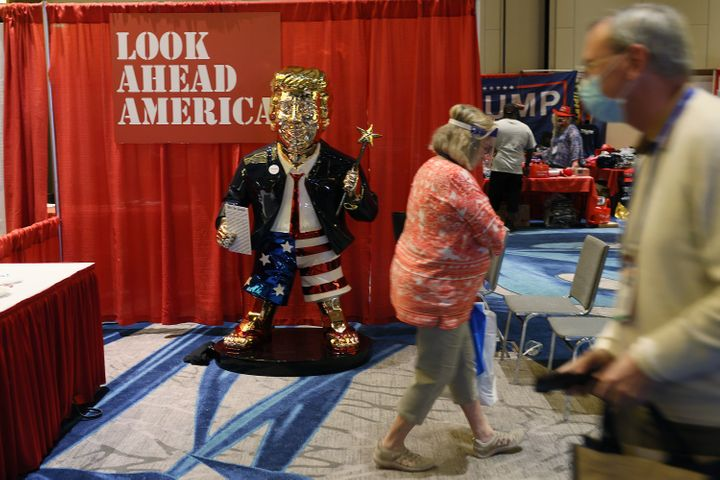 A gold statue of former President Donald Trump is on display at the Conservative Political Action Conference being held in th