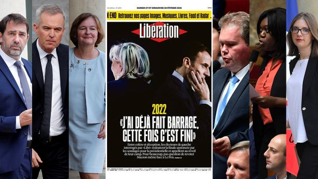 La Une de Libération de ce samedi 27 février mettant en avant les témoignages d'électeurs de gauche qui...