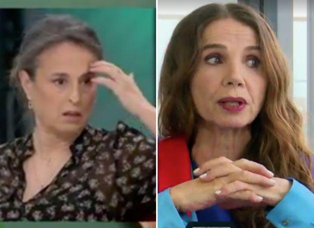 María José García Alumbreros, enfermera, y la actriz Victoria Abril, en 'LaSexta