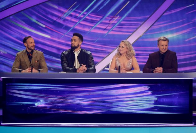 Jason with Dancing On Ice judges Ashley Banjo, Jayne Torvill and Christopher