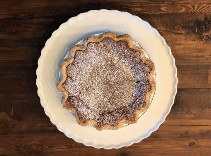The chocolatechess pie gifted to the author by a friend.