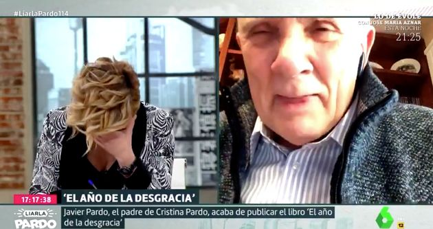 Cristina Pardo, emocionada, ante la presencia de su padre en 'Liarla Pardo'