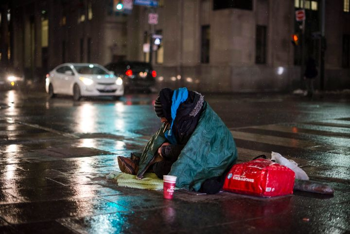 A homeless person in downtown Toronto, on Jan. 3, 2018. The city will begin vaccinating its homeless population, including those living in shelters, from COVID-19 this week.